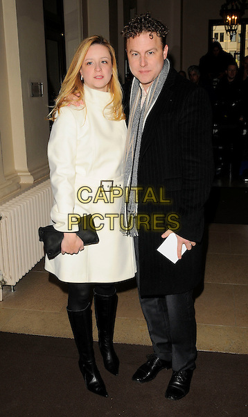 GUEST & SAM WEST .The Evening Standard Awards, Royal Opera House, Covent Garden, London, .UK, 24th November 2008..full length cream white coat belt grey gray scarf black coat clutch bag knee high boots .CAP/CAN.©Can Nguyen/Capital Pictures