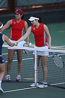 STANFORD, CA - JANUARY 28:  Veronica Li and Jennifer Yen of the Stanford Cardinal during Stanford's 7-0 win over the UC Davis Aggies on January 28, 2009 at the Taube Family Tennis Stadium in Stanford, California.