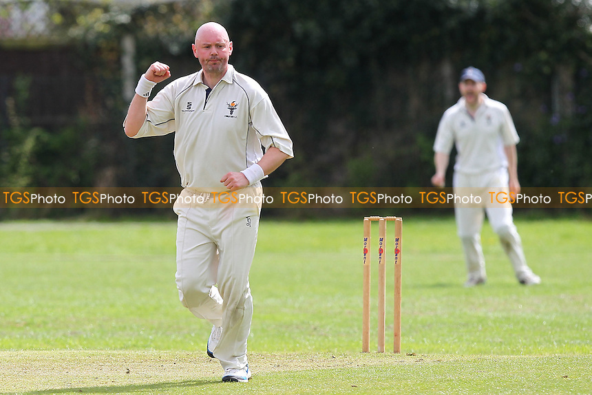 Kerry Marriott of Chingford celebrates the wicket of Matt Tigg - Upminster CC vs Chingford CC - Essex Cricket League Cup at Upminster Park - 25/04/15 - MANDATORY CREDIT: Gavin Ellis/TGSPHOTO - Self billing applies where appropriate - 0845 094 6026 - contact@tgsphoto.co.uk - NO UNPAID USE