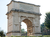 The fresco of the Golden Menorah in the Arch of Titus, located on the Via Sacra, just to the south-east of the Roman Forum in Rome, Italy, which was built to commemorate Titus's victory in Judea, depicts a Roman victory procession with soldiers carrying spoils from the Temple, including the Menorah, which were used to fund the construction of the Colosseum, on Wednesday, October 23, 2013.  It was constructed c. 82 AD by the Roman Emperor Domitian shortly after the death of his older brother Titus to commemorate Titus' victories, including the Siege of Jerusalem in 70 AD. The Arch is said to have provided the general model for many of the triumphal arches erected since the 16th century—perhaps most famously it is the inspiration for the 1806 Arc de Triomphe in Paris, France, completed in 1836.  This, the south panel, depicts the spoils of war looted from the Temple in Jerusalem after its destruction by the Romans. The Golden Menorah is the main focus and is carved in deep relief. Other sacred objects being carried in the triumphal procession are the Gold Trumpets and the Table of Shew bread. These spoils were likely originally colored gold, with the background in blue. In 2012 the Arch of Titus Digital Restoration Project discovered remains of yellow ochre paint on the menorah relief.  <br /> Credit: Ron Sachs / CNP