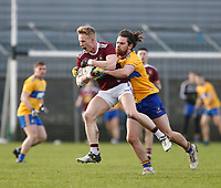 26th January 2020; TEG Cusack Park, Mullingar, Westmeath, Ireland; Allianz Football Division 2 Gaelic Football, Westmeath versus Clare; Killian Daly (Westmeath) holds off a challenge from Cian O'Dea (Clare)