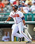 6 March 2012: Atlanta Braves outfielder Stefan Gartrell in action during a Spring Training game against the Washington Nationals at Champion Park in Disney's Wide World of Sports Complex, Orlando, Florida. The Nationals defeated the Braves 5-2 in Grapefruit League action. Mandatory Credit: Ed Wolfstein Photo