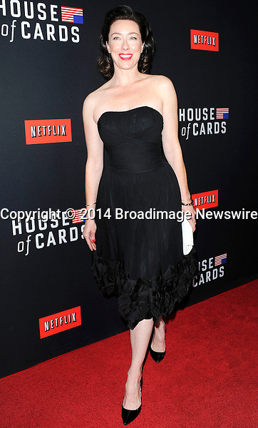 Pictured: Molly Parker<br /> Mandatory Credit &copy; Adhemar Sburlati/Broadimage<br /> Film Premiere of House of Cards<br /> <br /> 2/13/14, Los Angeles, California, United States of America<br /> <br /> Broadimage Newswire<br /> Los Angeles 1+  (310) 301-1027<br /> New York      1+  (646) 827-9134<br /> sales@broadimage.com<br /> http://www.broadimage.com