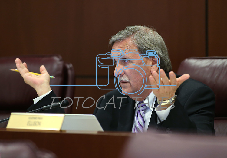Nevada Assemblyman John Ellison, R-Elko, works in committee at the Legislative Building in Carson City, Nev., on Wednesday, May 6, 2015.<br /> Photo by Cathleen Allison