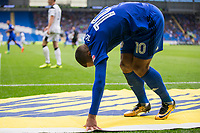 Kenneth Zohore of Cardiff City hold his hamstring and appears in discomfort during the Sky Bet Championship match between Cardiff City and Derby County at Cardiff City Stadium, Cardiff, Wales on 30 September 2017. Photo by Mark  Hawkins / PRiME Media Images.