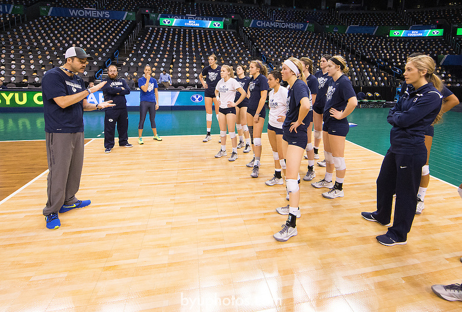 Olmstead, Shawn_SW12554<br /> <br /> The BYU Women's Volleyball Team prepares for their National Semi-Final Match against Texas at the NCAA Women's Volleyball Championships held in Oklahoma City, OK. <br /> <br /> BYU Women's Volleyball vs Texas - NCAA Final 4<br /> <br /> December 18, 2014<br /> <br /> Photo by Jaren Wilkey/BYU<br /> <br /> &copy; BYU PHOTO 2014<br /> All Rights Reserved<br /> photo@byu.edu  (801)422-7322