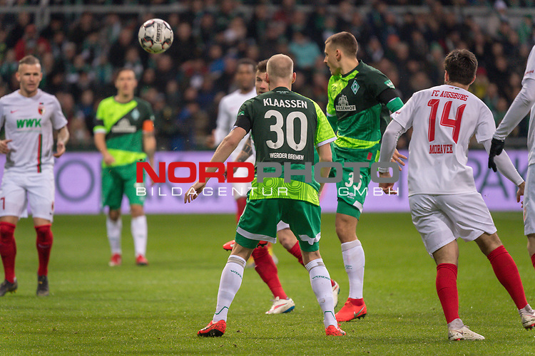 10.02.2019, Weser Stadion, Bremen, GER, 1.FBL, Werder Bremen vs FC Augsburg, <br /> <br /> DFL REGULATIONS PROHIBIT ANY USE OF PHOTOGRAPHS AS IMAGE SEQUENCES AND/OR QUASI-VIDEO.<br /> <br />  im Bild<br /> <br /> <br /> Maximilian Eggestein (Werder Bremen #35)<br /> Davy Klaassen (Werder Bremen #30)<br /> Jan Moravek (FC Augsburg #14)<br /> Foto &copy; nordphoto / Kokenge