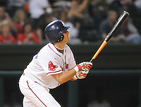 Sept. 17, 2009: Shannon Wilkerson (10) of the Greenville Drive hits in Game 3 of the South Atlantic League Championship Series between the Drive and the Lakewood BlueClaws Sept. 17, 2009, at Fluor Field at the West End in Greenville, S.C.  Photo by: Tom Priddy/Four Seam Images