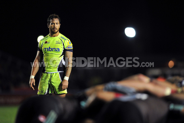 Danny Cipriani of Sale Sharks watches a scrum. Aviva Premiership match, between Harlequins and Sale Sharks on November 6, 2015 at the Twickenham Stoop in London, England. Photo by: Patrick Khachfe / Onside Images