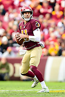 Landover, MD - November 18, 2018: Washington Redskins quarterback Alex Smith (11) surveys the field from the pocket during first half action of game between the Houston Texans and the Washington Redskins at FedEx Field in Landover, MD. (Photo by Phillip Peters/Media Images International)