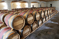 Oak barrel aging and fermentation cellar. Chateau Grand Corbin Despagne, Saint Emilion Bordeaux France