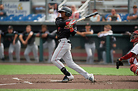 Batavia Muckdogs Dalvy Rosario (17) bats during a NY-Penn League game against the Auburn Doubledays on September 2, 2019 at Falcon Park in Auburn, New York.  Batavia defeated Auburn 7-0 to clinch the Pinckney Division Title.  (Mike Janes/Four Seam Images)
