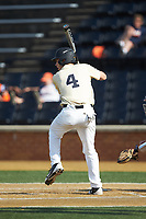D.J. Poteet (4) of the Wake Forest Demon Deacons at bat against the Virginia Cavaliers at David F. Couch Ballpark on May 19, 2018 in  Winston-Salem, North Carolina. The Demon Deacons defeated the Cavaliers 18-12. (Brian Westerholt/Four Seam Images)
