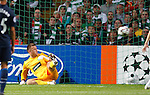 Artur Boruc caught out as William Gallas scores for Arsenal with a free-kick