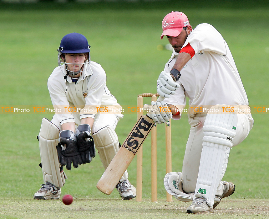 H Sharma of Harold Wood hits out watched by J Walsh - Harold Wood CC vs Horndon-on-the-Hill CC - Essex Sunday Cricket League - 17/06/07 - MANDATORY CREDIT: Gavin Ellis/TGSPHOTO - SELF-BILLING APPLIES WHERE APPROPRIATE. NO UNPAID USE -  Tel: 0845 0946026