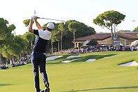 Justin Rose (ENG) plays his 2nd shot on the 18th hole at the end of Sunday's Final Round of the 2018 Turkish Airlines Open hosted by Regnum Carya Golf &amp; Spa Resort, Antalya, Turkey. 4th November 2018.<br /> Picture: Eoin Clarke | Golffile<br /> <br /> <br /> All photos usage must carry mandatory copyright credit (&copy; Golffile | Eoin Clarke)