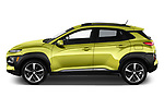 Car driver side profile view of a 2019 Hyundai Kona Limited DCT 5 Door SUV