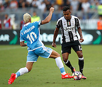 Calcio, Serie A: Lazio vs Juventus. Roma, stadio Olimpico, 27 agosto 2016.<br /> Juventus&rsquo; Alex Sandro, right, is challenged by Lazio&rsquo;s Felipe Anderson during the Serie A soccer match between Lazio and Juventus, at Rome's Olympic stadium, 27 August 2016. Juventus won 1-0.<br /> UPDATE IMAGES PRESS/Isabella Bonotto