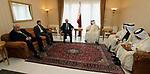 Palestinian Prime Minister Rami Hamdallah meets with Qatari counterpart Abdullah bin Nasser bin Khalifa Al Thani, in Algiers, Algeria on March 7, 2018. Photo by Prime Minister Office