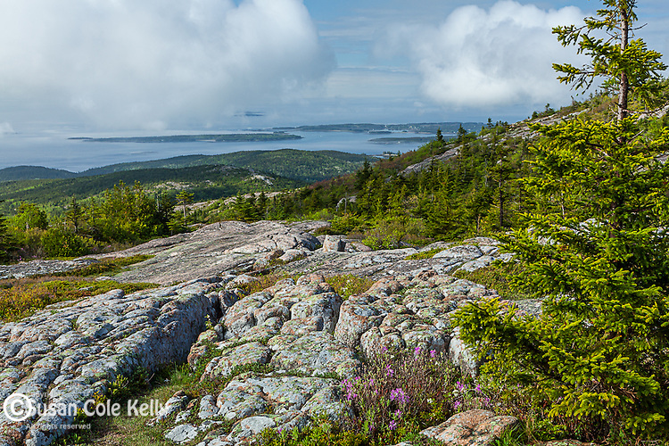 Clearing fog over the Cranberry Isles from Cadillac Mountain in Acadia National Park, Maine, USA