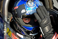 Jun. 17, 2011; Bristol, TN, USA: NHRA top fuel driver Brandon Bernstein during qualifying for the Thunder Valley Nationals at Bristol Dragway. Mandatory Credit: Mark J. Rebilas-