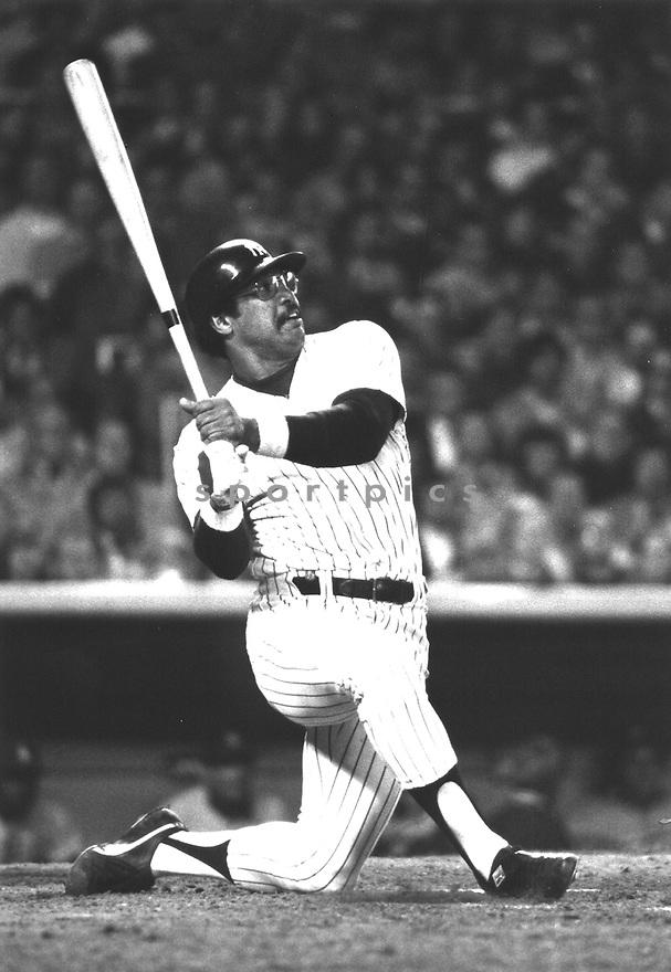 Reggie Jackson of the New York Yankees Reggie  hits home run in the 1977 World Series