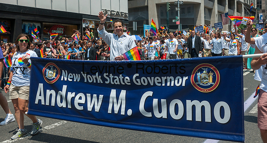 NYS Governor Andrew Cuomo marches in the 44th annual Lesbian, Gay, Bisexual and Transgender Pride Parade on Fifth Avenue in New York on Sunday, June 30, 2013. The turn out for the parade was especially large with the recent Supreme Court decision overturning the Defense of Marriage Act (DOMA) and California's Proposition 8.  (© Richard B. Levine)