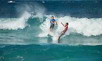 Pipeline,  OAHU - HAWAII, USA: (Thursday, December 17, 2015): Adriano de Souza (BRA)  and Mason Ho (HAW) - The Billabong Pipe Masters in Memory of Andy Irons was wrapped up today in 4 to 6 foot bumpy surf at the Banzai Pipeline. <br />  <br /> The final stop of the Men&rsquo;s Championship Tour and Vans Triple Crown of Surfing was decided with Adriano de Souza (BRA) claiming the World Champion's Title plus winning the Billabong Pipe masters. His fellow finalist and defending World Champion Gabriel Medina (BRA) in the 35 minute final.<br />  Photo: joliphotos.com
