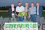 TOP DOG: Dan Lynch owner of Homestead Cindy winner of the Pat Dowling Memorial Sweepstake Final being presenting with trophy by Larry Dowling at the Lixnaw GAA Club Night at the Dogs at the Kingdom Greyhound Stadium on Saturday night l-r: Tim Diggins, Patrick McCarty, Larry Dowling, Dan Lynch and Willie Dowling (Chairman Lixnaw GAA)..   Copyright Kerry's Eye 2008
