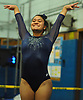Jessica Lopez of Plainview-Old Bethpage JFK turns to the judges after a vault in the Nassau County varsity gymnastics team championship at Berner Middle School in Massapequa on Thursday, Feb. 15, 2018.