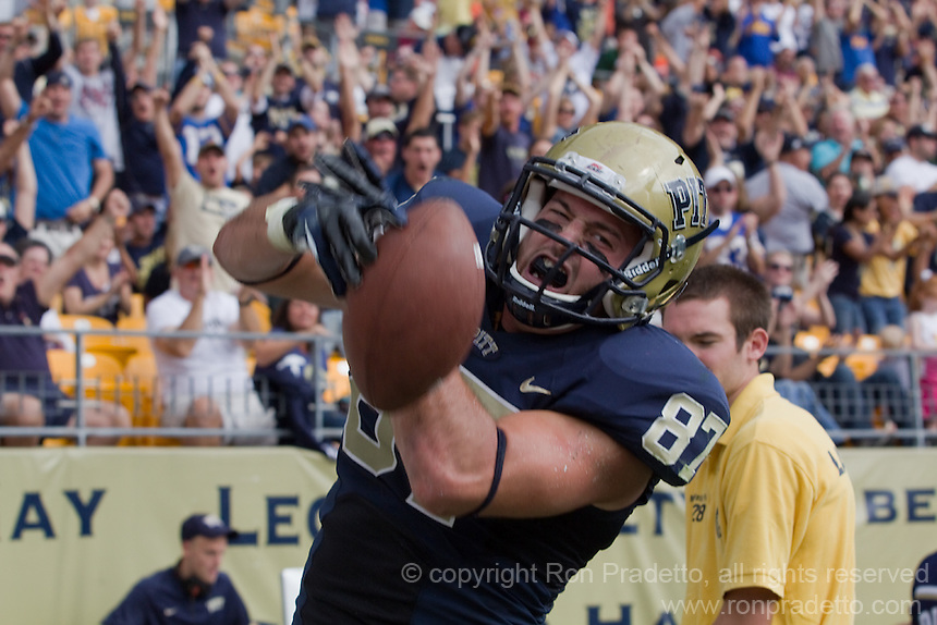 Pitt wide receiver Mike Shanahan celebrates his 6-yard touchdown catch. The Pitt Panthers defeated the Virginia Tech Hokies 35-17 at Heinz field in Pittsburgh, PA on September 15, 2012.