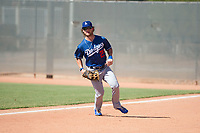 Los Angeles Dodgers right fielder Andrew Shaps (27) prepares to field a ball during an Instructional League game against the Milwaukee Brewers at Maryvale Baseball Park on September 24, 2018 in Phoenix, Arizona. (Zachary Lucy/Four Seam Images)