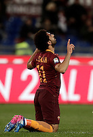 Calcio, Serie A: Roma, stadio Olimpico, 19 febbraio 2017.<br /> Roma&rsquo;s Mohamed Salah celebrates after scoring during the Italian Serie A football match between As Roma and Torino at Rome's Olympic stadium, on February 19, 2017.<br /> UPDATE IMAGES PRESS/Isabella Bonotto