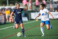 Allston, MA - Sunday July 17, 2016: Erica Skroski, Stephanie McCaffrey during a regular season National Women's Soccer League (NWSL) match between the Boston Breakers and Sky Blue FC at Jordan Field.