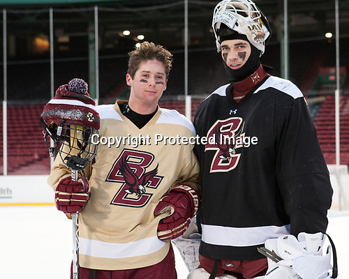 Zach Walker (BC - 14), Ian Milosz (BC - 29) - The Boston College Eagles practiced at Fenway on Friday, January 6, 2017, in Boston, Massachusetts.