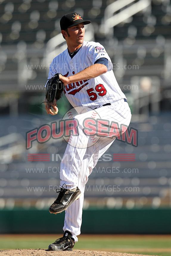 Mesa Solar Sox pitcher Brett Jacobson #59 during an Arizona Fall League game against the Phoenix Desert Dogs at HoHoKam Park on November 3, 2011 in Mesa, Arizona.  Mesa defeated Phoenix 8-7.  (Mike Janes/Four Seam Images)