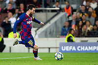 5th November 2019; Camp Nou, Barcelona, Catalonia, Spain; UEFA Champions League Football, Barcelona versus Slavia Prague; Lionel Messi during round 4 of UEFA Champions League match against Slavia Praga - Editorial Use