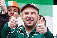 St Patricks Day parade High Street Digbeth Students on parade float giving the thumbs up.Most likely at Camp Hill Bordesley