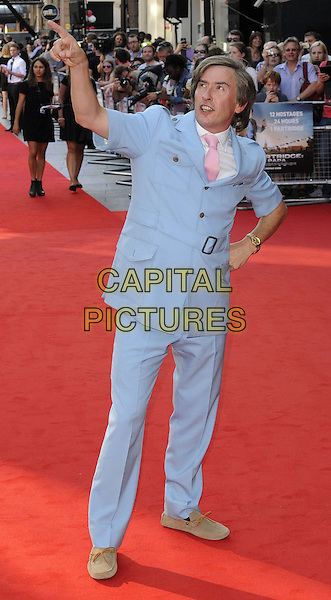 Steve Coogan<br /> attended the &quot;Alan Partridge: Alpha Papa&quot; UK film premiere, Vue West End cinema, Leicester Square, London, England, UK, <br /> 24th July 2013.<br /> full length in character blue suit belt hand on hip finger pointing pink tie white shirt <br /> CAP/CAN<br /> &copy;Can Nguyen/Capital Pictures