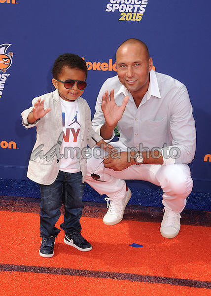 16 July 2015 - Westwood, California - Jalen Jeter-Martin, Derek Jeter. Nickelodeon Kids Choice Sports Awards 2015 held at the UCLA Pauley Pavilion. Photo Credit: Byron Purvis/AdMedia