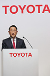 Toyota Motor Corporation President Akio Toyoda speaks during a news conference at the Royal Park Hotel Tokyo on August 4, 2017, Tokyo, Japan. Toyoda and Mazda Motor Corporation President and CEO Masamichi Kogai announced an alliance between the car makers; whereby they will invest in each other and plan to build a joint auto factory in the U.S. and cooperate in new technologies for electric vehicles.(Photo by Rodrigo Reyes Marin/AFLO)