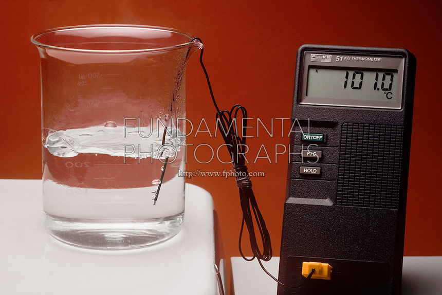 AQUEOUS SOLUTION IN BOILING BEAKER<br /> Boiling H2O<br /> Water, heated on a hot plate, boils at 100 deg C. or 212 deg F. at 1 atmosphere. During boiling, vapor forms within &amp; bubbles through the body of the liquid causing the turbulence.
