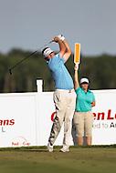 Gainesville, VA - August 2, 2015:    Jason Bohn tee shot on hole 17 at the Robert Trent Jones Golf Club in Gainesville, VA. August 2, 2015.  (Photo by Elliott Brown/Media Images International)