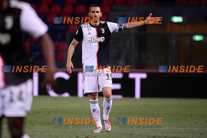 Leonardo Bonucci of Juventus reacts during the Serie A football match between Bologna FC and Juventus at Dall'Ara stadium in Bologna ( Italy ), June 22th, 2020. Play resumes behind closed doors following the outbreak of the coronavirus disease. <br /> Photo Federico Tardito / Insidefoto