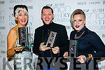 Kerry Winners at KFW Irish Fashion Industry Awards at the Europe Hotel, Killarney on Friday night last, from left: Carol Kennelly, Tralee  winner of the Millinery Category, IMAGE Breakthrough Designer, Colin Horgan, Ardfert and Kerry Fashion Designer of the Year Greta Lelyte, Tralee.