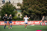 Seattle, Washington - Saturday, July 2nd, 2016: Seattle Reign FC forward Nahomi Kawasumi (36) enters the pitch prior to a regular season National Women's Soccer League (NWSL) match between the Seattle Reign FC and the Boston Breakers at Memorial Stadium. Seattle won 2-0.
