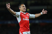 Alexis Sanchez of Arsenal celebrates scoring the opening goal of the game during the UEFA Champions League match between Arsenal and PFC Ludogorets Razgrad at the Emirates Stadium, London, England on 19 October 2016. Photo by David Horn / PRiME Media Images.