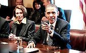 Washington, DC - December 9, 2009 -- United States President Barack Obama speaks at a meeting with bipartisan Members of Congress as House Speaker Nancy Pelosi (Democrat of California) looks on at the White House on Wednesday, December 9, 2009 in Washington, DC.  Obama met with Congressional leaders to discuss jobs and the economy.  .Credit: Olivier Douliery / Pool via CNP