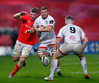 9th November 2019; Thomond Park, Limerick, Munster, Ireland; Guinness Pro 14 Rugby, Munster versus Ulster; Sean Reidy of Ulster and Peter O'Mahony (c) of Munster chase the loose ball   - Editorial Use