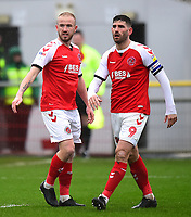 Fleetwood Town's Ched Evans and Paddy Madden in action<br /> <br /> Photographer Richard Martin-Roberts/CameraSport<br /> <br /> The EFL Sky Bet League One - Fleetwood Town v Plymouth Argyle - Saturday 16th March 2019 - Highbury Stadium - Fleetwood<br /> <br /> World Copyright © 2019 CameraSport. All rights reserved. 43 Linden Ave. Countesthorpe. Leicester. England. LE8 5PG - Tel: +44 (0) 116 277 4147 - admin@camerasport.com - www.camerasport.com